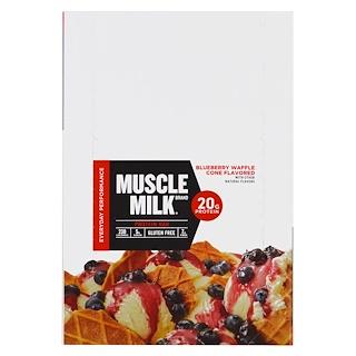 Cytosport, Inc, Muscle Milk Red Bar, Blueberry Waffle Cone, 12 Bars, 2.18 oz (62 g) Each