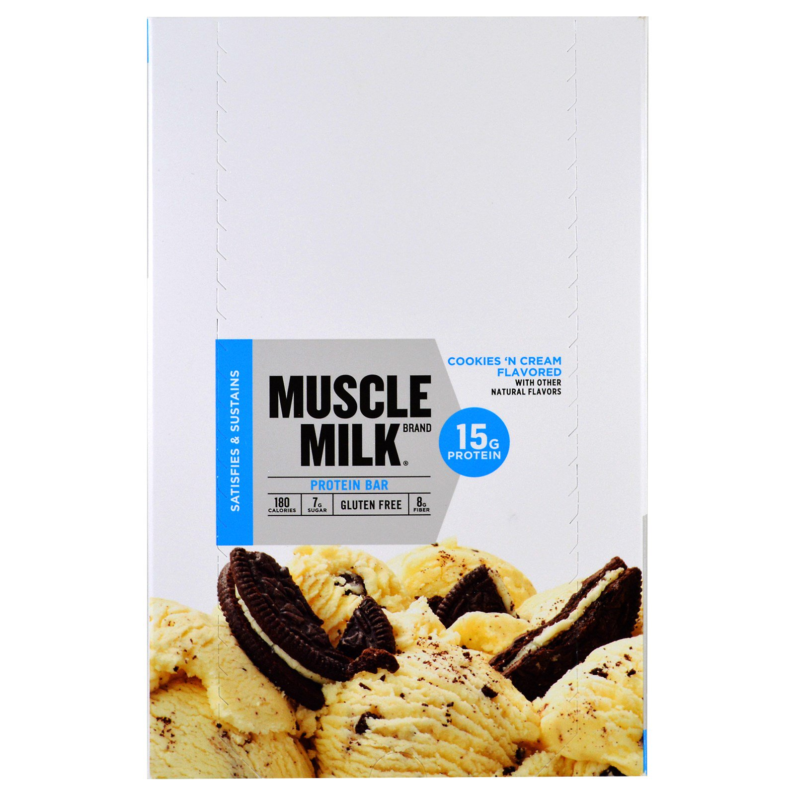 Cytosport, Inc, Muscle Milk, Protein Bar, Cookies 'N Cream, 12 Bars, 1.76 oz (50 g) Each