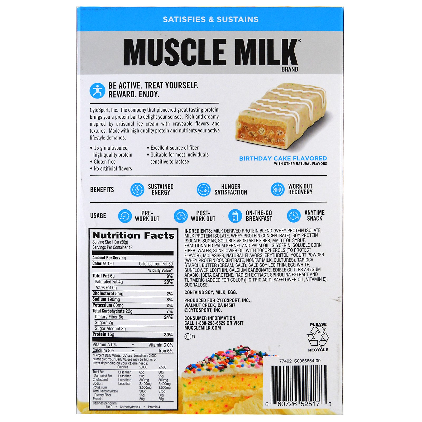 Cytosport Inc Muscle Milk Protein Bar Birthday Cake 12 Bars