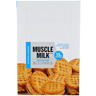 Cytosport, Inc, Muscle Milk Protein Bar, Peanut Butter Cookie Flavored, 12 Bars, 1.76 oz (50 g) Each