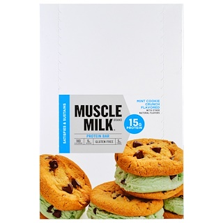 Cytosport, Inc, Muscle Milk, Protein, Mint Cookie Crunch, 12 Bars, 1.72 oz (49 g) Each