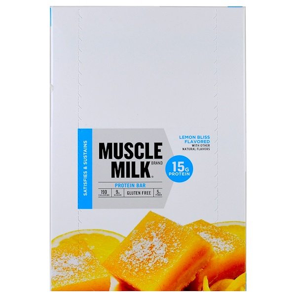 Cytosport, Inc, Muscle Milk, Protein Bar, Lemon Bliss Flavored, 12 Bars, 1.76 oz (50 g) (Discontinued Item)