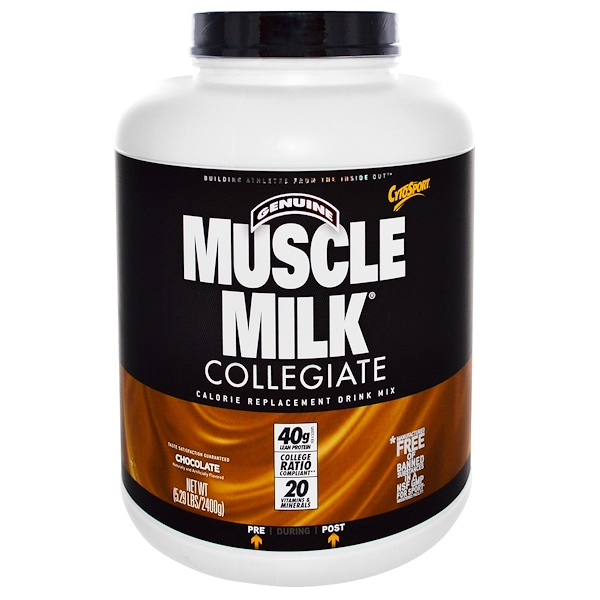 Cytosport, Inc, Genuine Muscle Milk Collegiate, Calorie Replacement Drink Mix, Chocolate, 5.29 lbs (2400 g) (Discontinued Item)