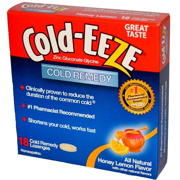 Cold Eeze, Zinc Gluconate Glycine, Cold Remedy, Honey Lemon Flavor, 18 Lozenges (Discontinued Item)