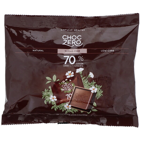 ChocZero, 70% Cocoa Dark Chocolate Squares, Sugar Free, 10 Pieces, 3.5 oz (100 g) (Discontinued Item)