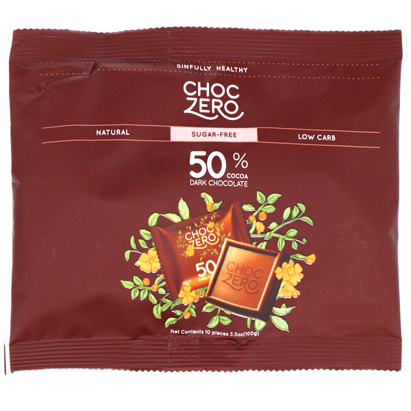 ChocZero, 50% Cocoa Dark Chocolate Squares, Sugar Free, 10 Pieces, 3.5 oz (100 g) (Discontinued Item)