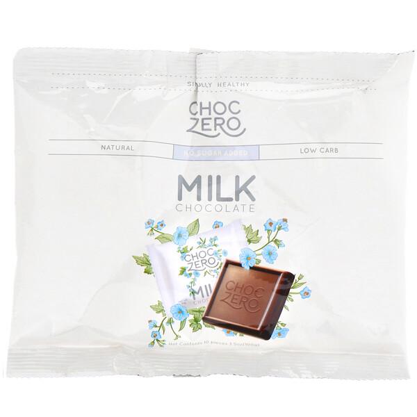 ChocZero, Milk Chocolate Squares, No Sugar Added, 10 Pieces, 3.5 oz (100 g) (Discontinued Item)