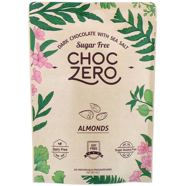Dark Chocolate with Sea Salt, Almonds, Sugar Free, 6 Bars, 1 oz Each