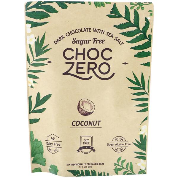 ChocZero, Dark Chocolate With Sea Salt Keto Bark, Coconut, Sugar Free,  6 Bars, 1 oz Each (Discontinued Item)