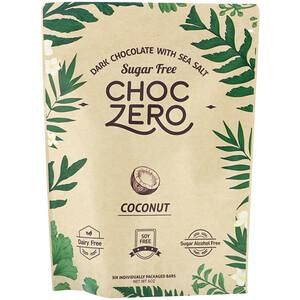 ChocZero, Dark Chocolate With Sea Salt Keto Bark, Coconut, Sugar Free,  6 Bars, 1 oz Each отзывы