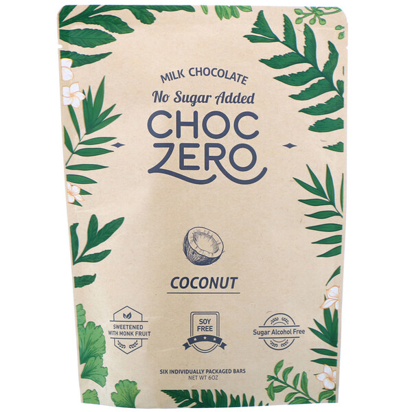 ChocZero, Milk Chocolate Keto Bark, No Sugar Added, Coconut, 6 Bars, 1 oz Each (Discontinued Item)