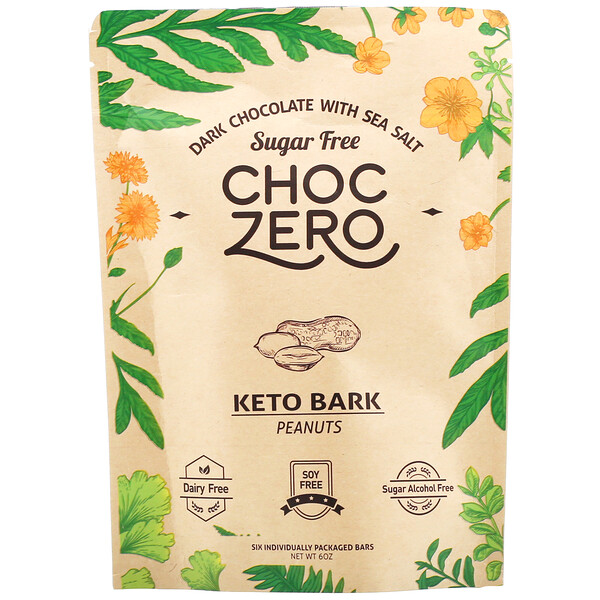 ChocZero, Dark Chocolate With Sea Salt Keto Bark, Peanuts, Sugar Free, 6 Bars, 1 oz Each