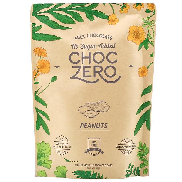 Milk Chocolate, Peanuts, No Sugar Added, 6 Bars, 1 oz  Each
