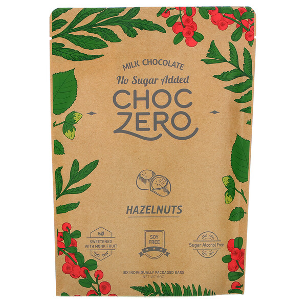 ChocZero, Milk Chocolate, Hazelnuts, No Sugar Added,  6 Bars, 1 oz Each