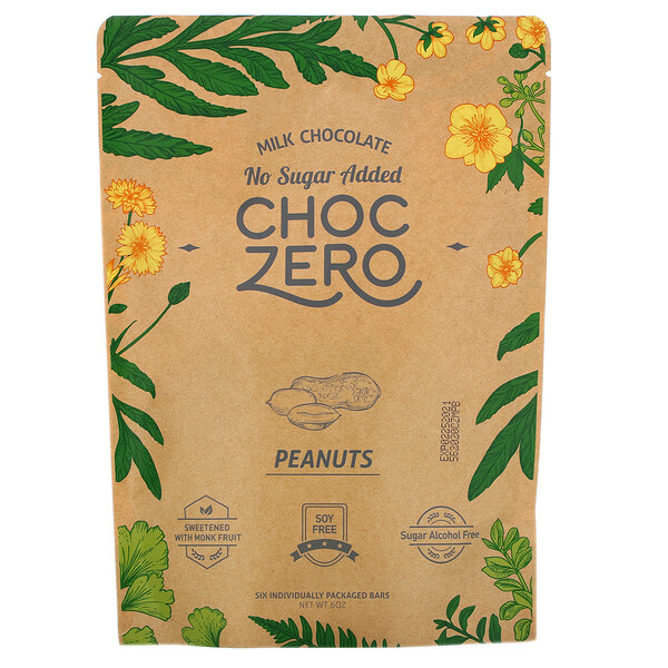 Milk Chocolate, Peanuts, No Sugar Added, 6 Bars, 1 oz  Each