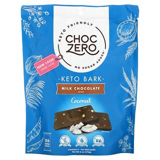 ChocZero, Keto Bark, Milk Chocolate, Coconut, 6 Mini Packs, 1 oz Each