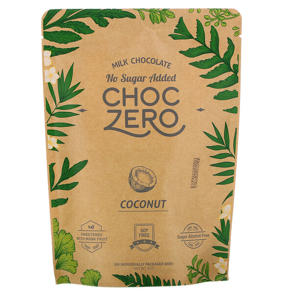 Milk Chocolate, Coconut, 6 Bars, 1 oz Each