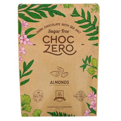 Купить ChocZero Dark Chocolate with Sea Salt, Almonds, Sugar Free, 6 Bars, 1 oz Each