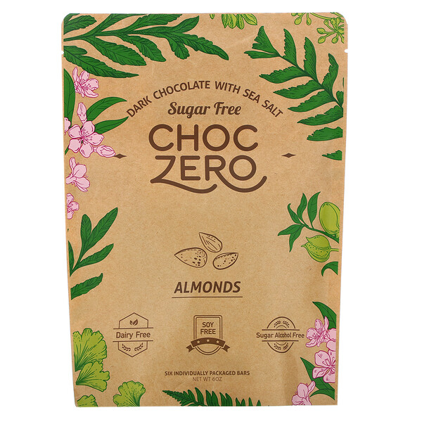 Dark Chocolate with Sea Salt, Almonds, Sugar Free,  6 Bars, 1 oz Each