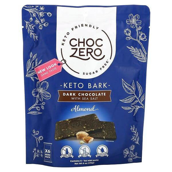 ChocZero, Keto Bark, Dark Chocolate with Sea Salt, Almond, Sugar Free, 6 Mini Pack, 1 oz Each