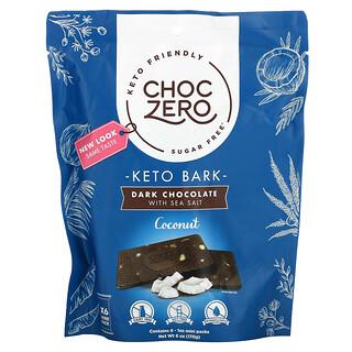 ChocZero, Keto Bark, Dark Chocolate with Sea Salt, Coconut, Sugar Free, 6 Mini Pack, 1 oz Each