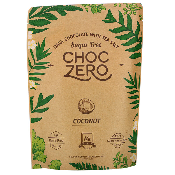 Dark Chocolate With Sea Salt, Coconut, Sugar Free, 6 Bars, 1 oz Each