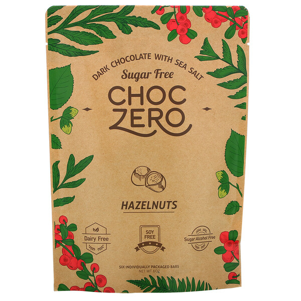 ChocZero, Dark Chocolate With Sea Salt, Hazelnuts, Sugar Free,  6 Bars, 1 oz Each