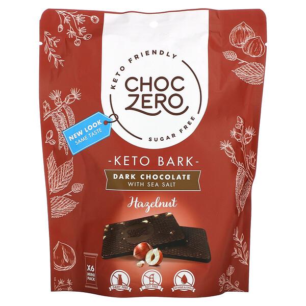 ChocZero, Keto Bark, Dark Chocolate with Sea Salt, Hazelnut, Sugar Free, 6 Mini Pack