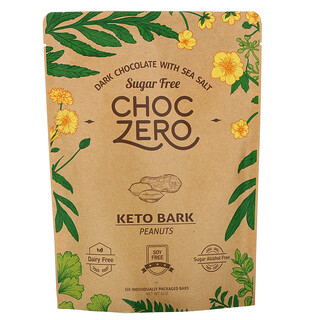 ChocZero, Keto Bark, Dark Chocolate with Sea Salt, Peanuts, Sugar Free, 6 Bars, 1 oz Each