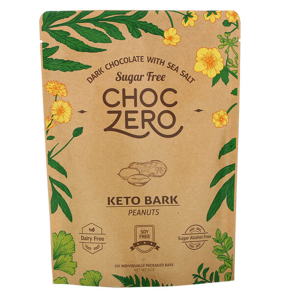 ChocZero, Dark Chocolate With Sea Salt, Keto Bark Peanuts, Sugar Free, 6 Bars, 1 oz Each