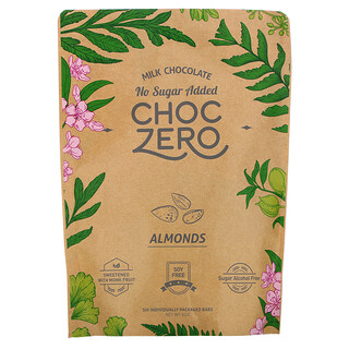ChocZero, Milk Chocolate, Almonds, No Sugar Added, 6 Bars, 1 oz Each