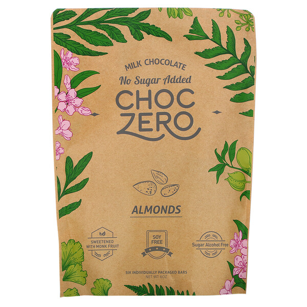ChocZero, Milk Chocolate, Almonds, No Sugar Added, 6 Bars, 1 oz Each
