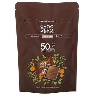ChocZero, 50% Cocoa Dark Chocolate Squares, Sugar Free, 10 Pieces, 3.5 oz