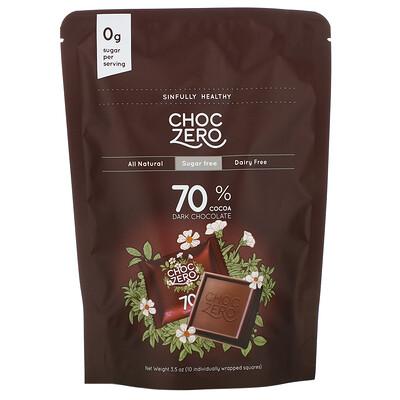 ChocZero порционный черный шоколад, 70%какао, без сахара, 10шт., 100г (3, 5унции)  - купить со скидкой