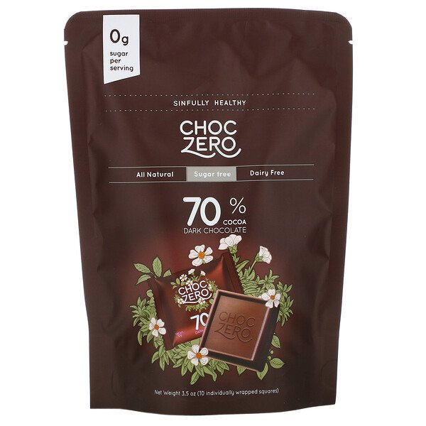 ChocZero, 70% Cocoa Dark Chocolate Squares, Sugar Free, 10 Pieces, 3.5 oz  Each