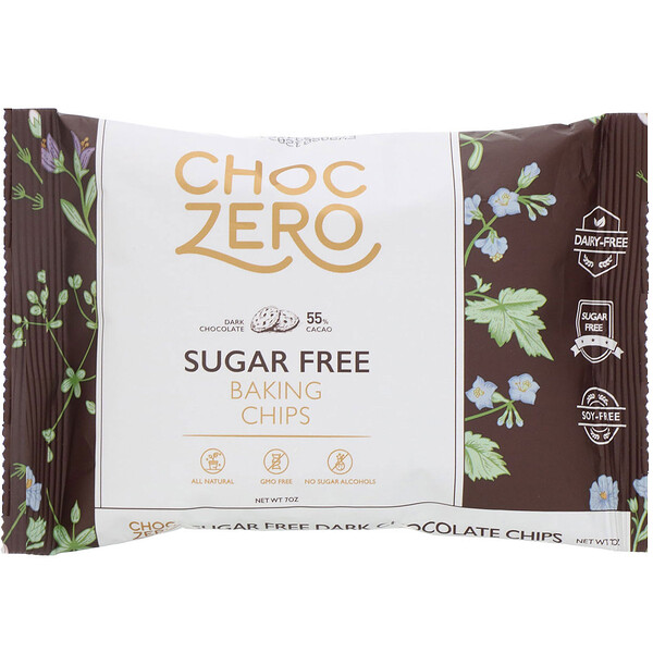 ChocZero, Dark Chocolate Chips, Sugar Free, 7 oz