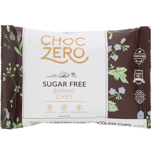 ChocZero, Chispas de chocolate amargo, Sin azúcar, 7oz