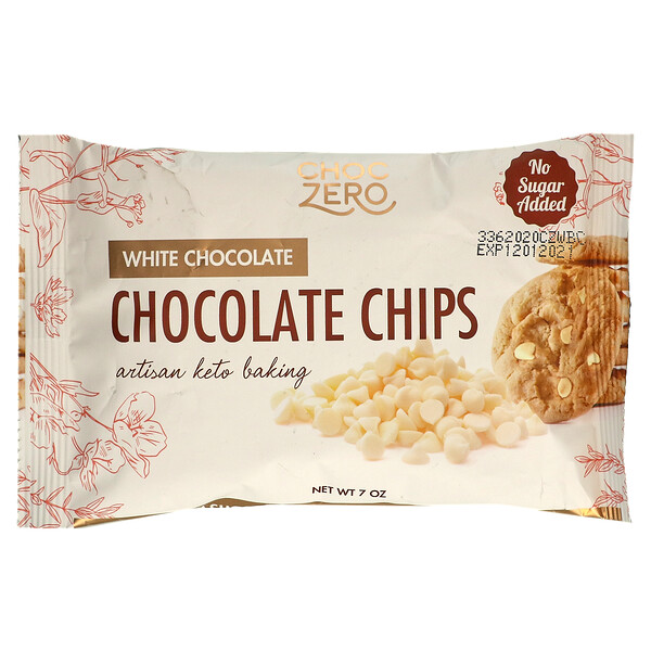 ChocZero, White Chocolate Baking Chips, No Sugar Added, 7 oz