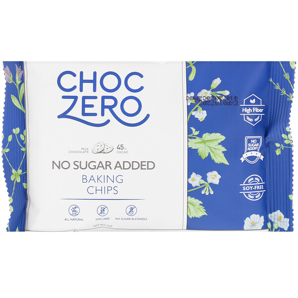 ChocZero, Milk Chocolate Baking Chips, No Sugar Added, 7 oz