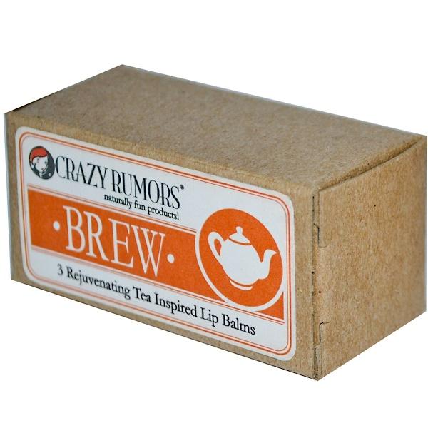 Crazy Rumors, Brew, 3 Rejuvenating Tea Inspired Lip Balms, .15 oz (4.2 g) Each (Discontinued Item)