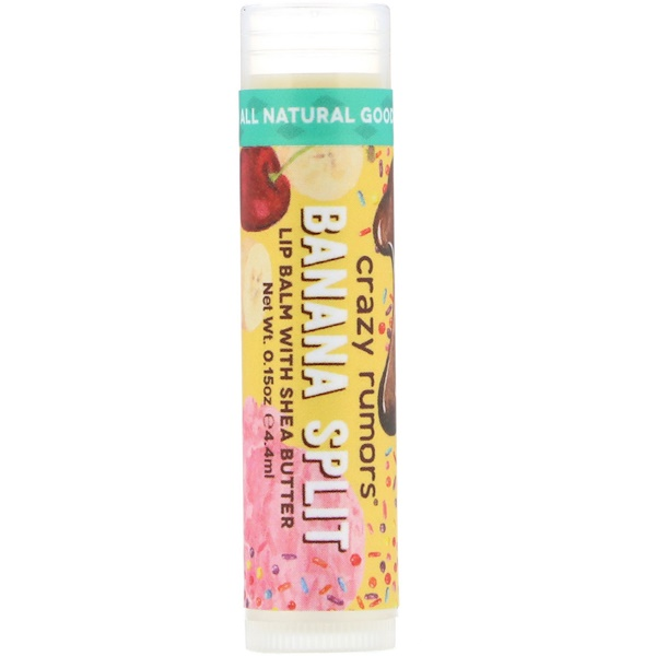 Crazy Rumors, Lip Balm with Shea Butter, Banana Split, 0.15 oz (4.4 ml) (Discontinued Item)
