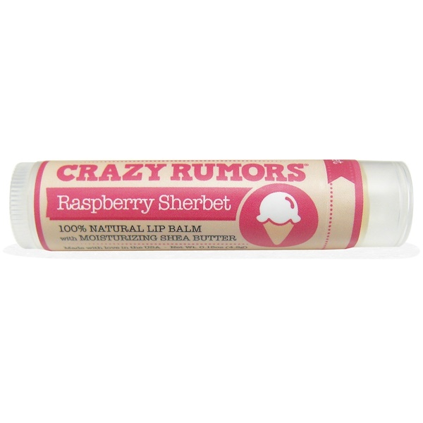 Crazy Rumors, 100% Natural Lip Balm, Raspberry Sherbet, 0.15 oz (4.4 ml)