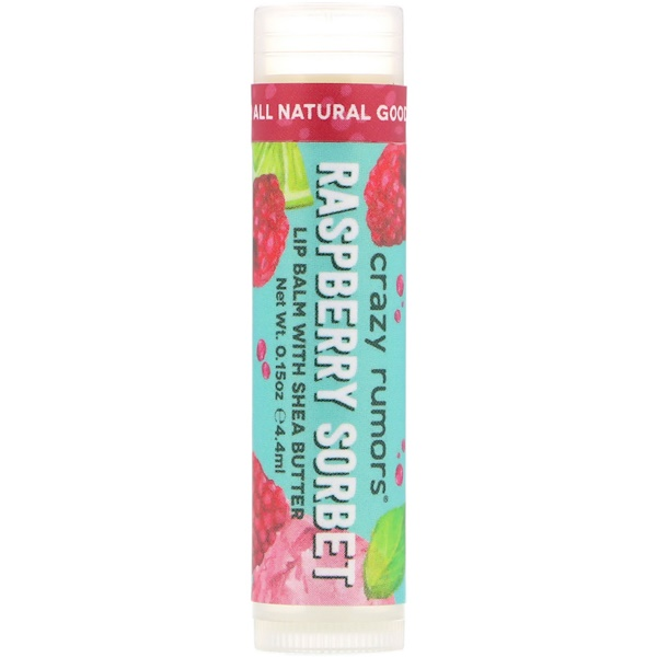Crazy Rumors, Lip Balm with Shea Butter, Raspberry Sorbet, 0.15 oz (4.4 ml)