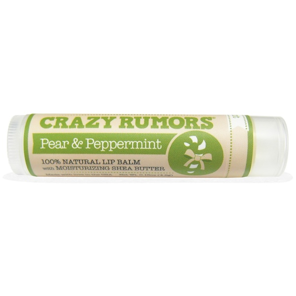 Crazy Rumors, 100% Natural Lip Balm, Pear & Peppermint, 0.15 oz (4.4 ml) (Discontinued Item)