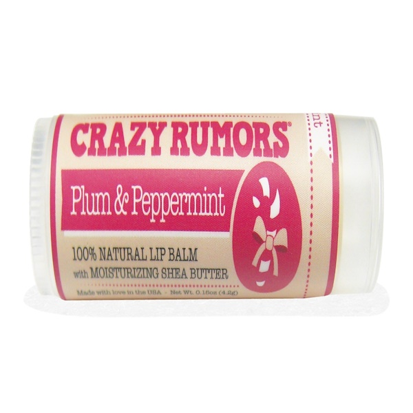 Crazy Rumors, Candy Cane, Lip Balm, Plum & Peppermint, 0.15 oz (4.2 g) (Discontinued Item)