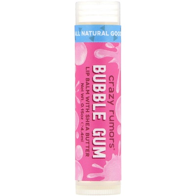 Crazy Rumors Lip Balm with Shea Butter, Bubble Gum, 0.15 oz (4.4 ml)