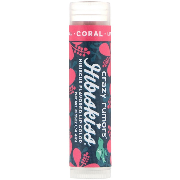 Crazy Rumors, HibisKiss, Hibiscus Flavored Lip Color, Coral, 0.15 oz (4.4 ml) (Discontinued Item)