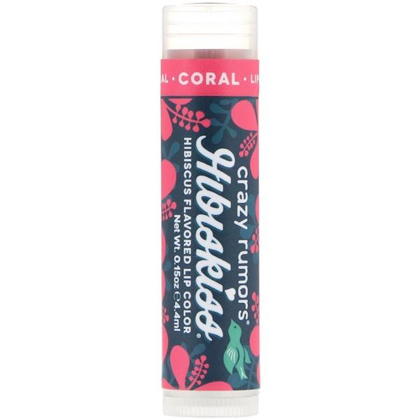 Crazy Rumors, HibisKiss, Hibiscus Flavored Lip Color, Coral, 0.15 oz (4.4 ml) (Discontinued Item)