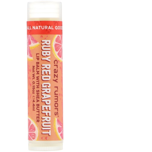 Crazy Rumors, Lip Balm with Shea Butter, Ruby Red Grapefruit, 0.15 oz (4.4 ml)