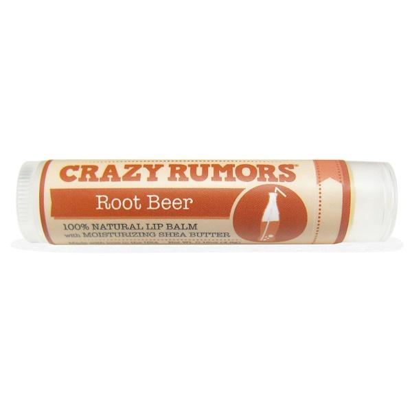 Crazy Rumors, 100% Natual Lip Balm, Root Beer, 0.15 oz (4.4 ml) (Discontinued Item)